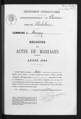 Mariages, 1944