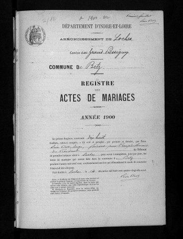 Mariages, 1900-1905