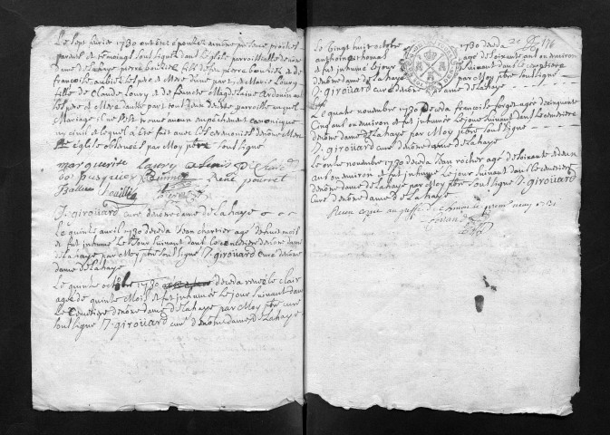 Collection communale. Mariages, sépultures, 1730