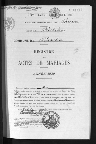 Mariages, 1939
