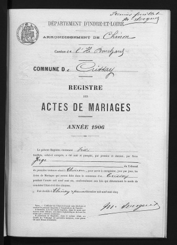 Mariages, 1906-1922