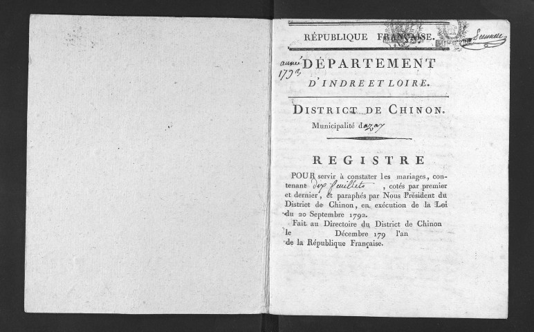 Mariages, 1793-an II