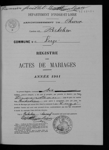 Mariages, 1941