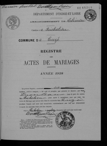 Mariages, 1938